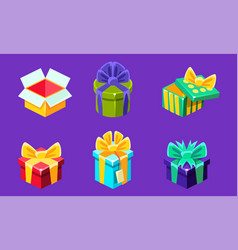 colorful gift boxes with bows set different open vector image