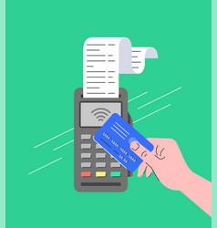 Contactless payment pos terminal with nfc card vector