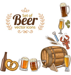 Corner frame of beer icons vector