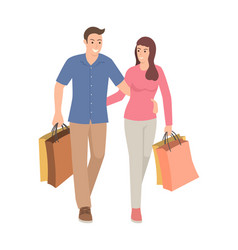 Couple carrying shopping bags vector
