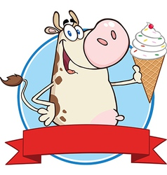 Cow with icecream vector