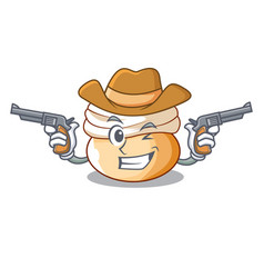 cowboy cartoon semla bun with almond paste vector image