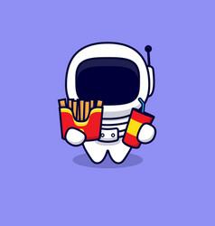 Cute astronaut love fast food cartoon icon vector