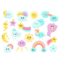 cute weather emoticons funny weather character vector image