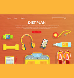 Diet plan landing page template healthy lifestyle vector