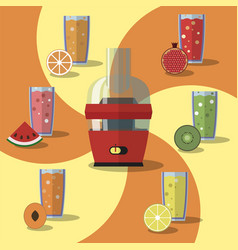 Electric juicer juices and vector