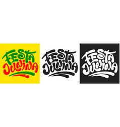 festa junina calligraphy lettering set vector image