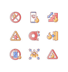 Fire safety guidelines rgb color icons set vector