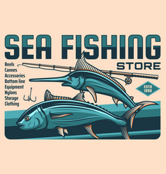 Fish fisherman rod and hook poster fishing sport vector