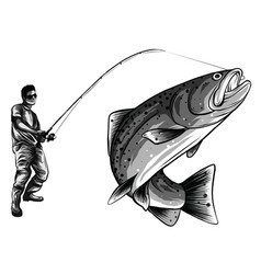 fisherman in rubber boots with a caught fish and a vector image
