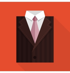 Flat business jacket and tie Brown color vector image