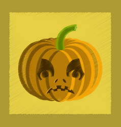 flat shading style icon halloween pumpkin emotions vector image