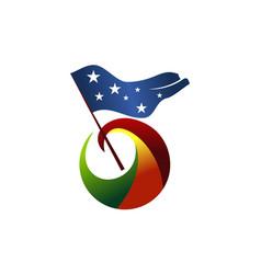 freedom flag logo design template vector image