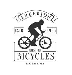 Freeride extreme custom bicycles vintage label vector