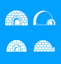 Frozen igloo icon set simple style vector