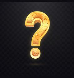 Golden question sign on dark transparent vector