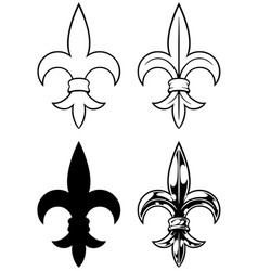 Graphic detailed black and white royal lily set vector