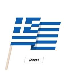 Greece Ribbon Waving Flag Isolated on White vector