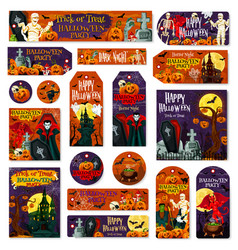 Halloween holiday pumpkin monster tag and label vector