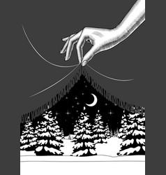 Hand lifting edge black curtain vector
