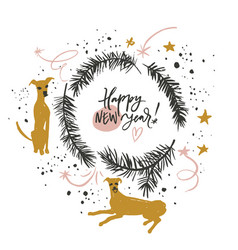 happy new year of dog vector image