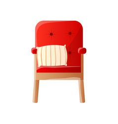 home cushioned retro armchair with red upholstery vector image
