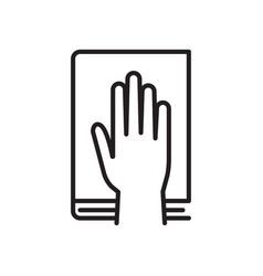 human hand and bible in oath icon vector image