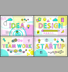 Idea and start up promo banners with linear icons vector