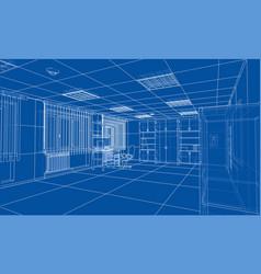 Interior sketch rendering of 3d vector