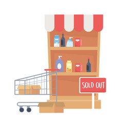 Isolated shopping shelf with products and cart vector