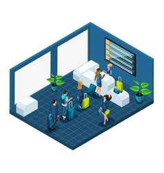 isometric building of the airport passengers with vector image