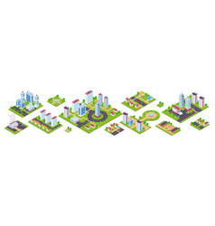 isometric city 3d real estate houses cars and vector image