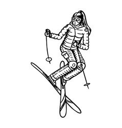 jumping skier woman active winter sport engraved vector image