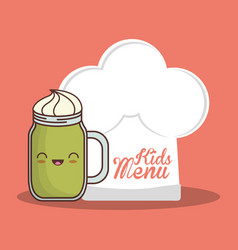 kids menu hat chef and glass cup vector image