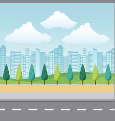 landscape park and city vector image
