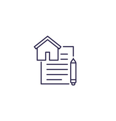 Lease contract line icon vector