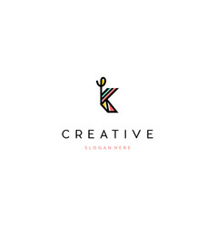 Letter k line creative business logo design vector
