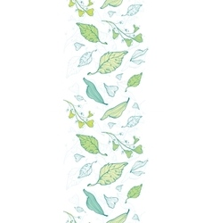 Lineart spring leaves vertical border vector