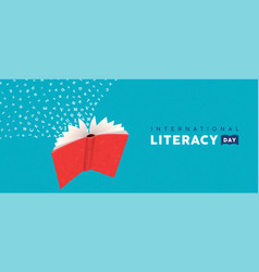 Literacy day card concept flying book alphabet vector