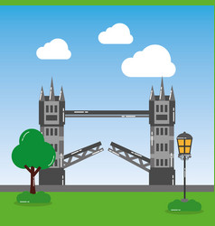 London tower bridge street lamp tree landmark vector