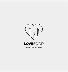 love food equipment simple line logo design vector image