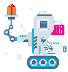 Machine holds Christmas present vector