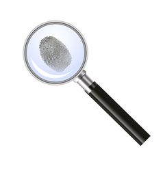Magnifying glass searching for fingerprint vector image