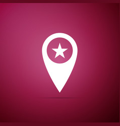 map pointer with star icon on purple background vector image