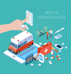 Medical mobile gadgets isometric composition vector