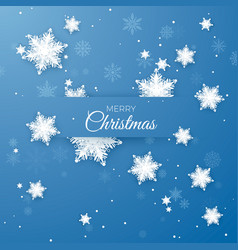 merry christmas greeting paper snowflakes vector image