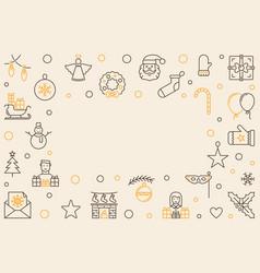 merry christmas horizontal outline frame vector image