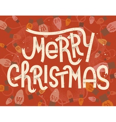Merry Christmas lettering Vintage greeting card vector