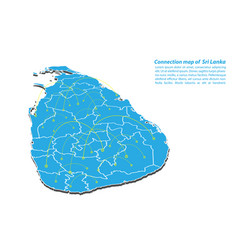 Modern of sri lanka map connections network vector