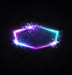 night club hexagon neon sign retro light signage vector image